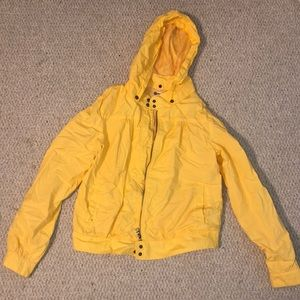 Yellow rain jacket with removable hood